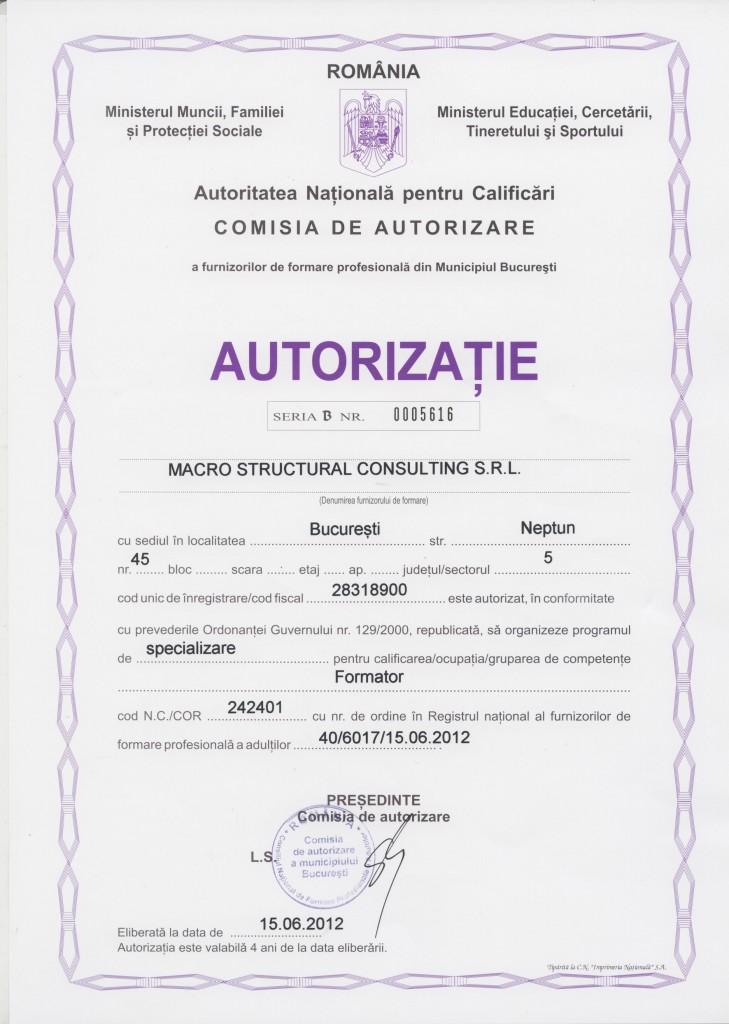 Autorizatie curs Formator