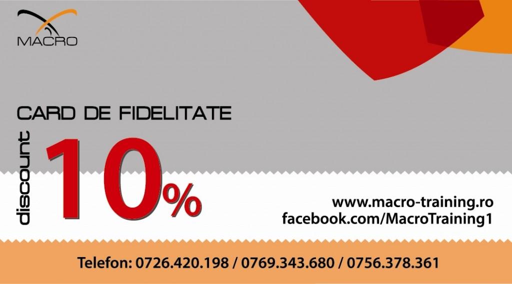 Card de fidelitate Macro Training - fata